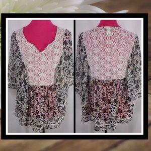 TORRID Crochet Lace Boho Batwing Blouse #019